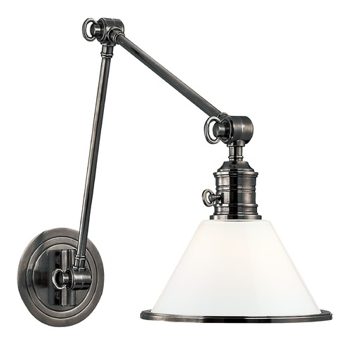 Hudson Valley Lighting Swing Arm Lamp with White Glass in Antique Nickel Finish 8333-AN
