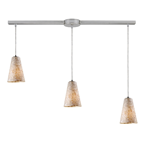 Elk Lighting Modern Multi-Light Pendant Light with Beige / Cream Glass and 3-Lights 10142/3L