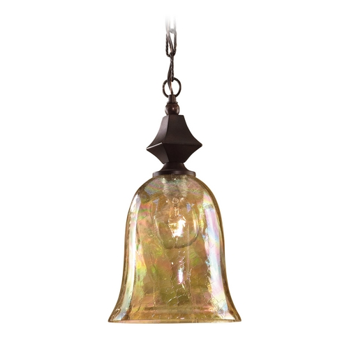 Uttermost Lighting Mini-Pendant Light with Amber Glass 21812