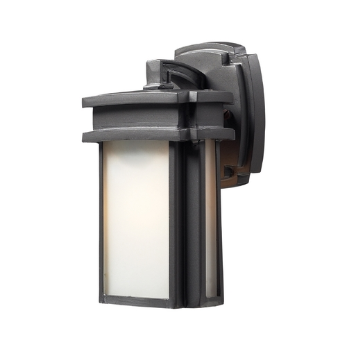 Elk Lighting Outdoor Wall Light with White Glass in Graphite Finish 42346/1