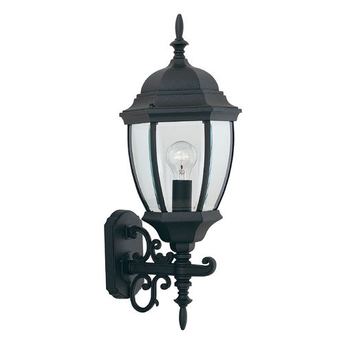 Designers Fountain Lighting Outdoor Wall Light with Clear Glass in Black Finish 2432-BK