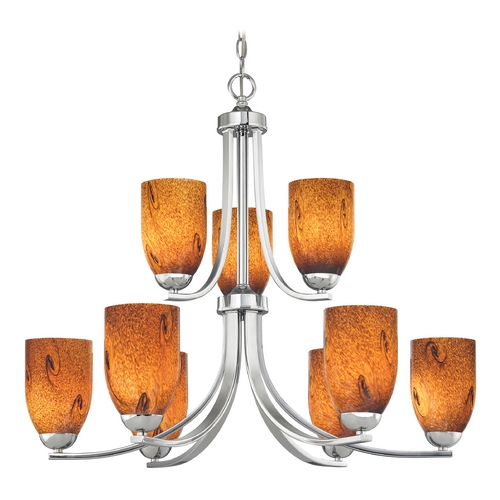 Design Classics Lighting Modern Chandelier with Brown Art Glass in Polished Chrome Finish 586-26 GL1001D