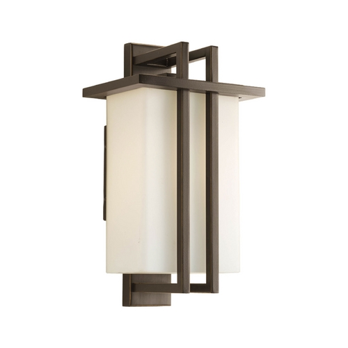 Progress Lighting Progress Modern Outdoor Wall Light with White Glass in Bronze Finish P5990-20