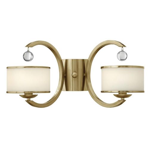Hinkley Lighting Sconce Wall Light with White Glass in Brushed Caramel Finish 4852BC