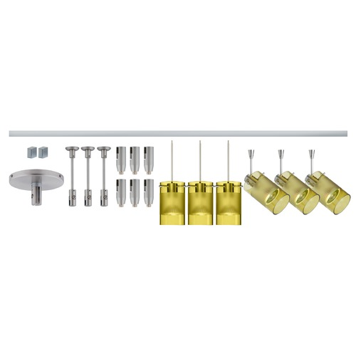 Besa Lighting Besa Lighting Scope Green Frosted Glass Satin Nickel LED Rail Kit R12-K08LE-6524EL-SN