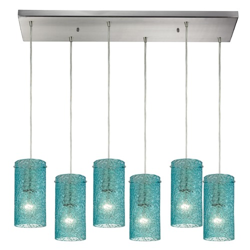 Elk Lighting Elk Lighting Ice Fragments Satin Nickel Multi-Light Pendant with Cylindrical Shade 10242/6RC-AQ