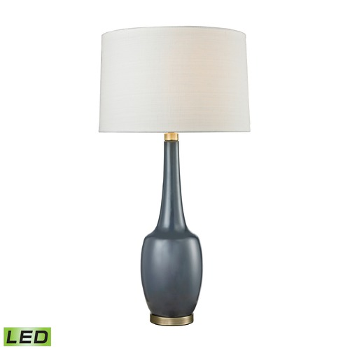 Dimond Lighting Dimond Lighting Navy Blue Glaze, Antique Brass LED Table Lamp with Drum Shade D2611NB-LED