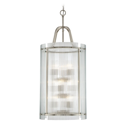 Savoy House Savoy House Lighting Afton Satin Nickel Pendant Light with Cylindrical Shade 3-3088-9-SN