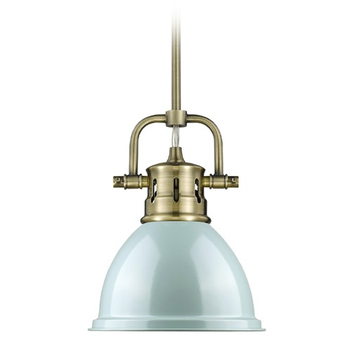 Golden Lighting Golden Lighting Duncan Ab Aged Brass Mini-Pendant Light with Bowl / Dome Shade 3604-M1L AB-SF