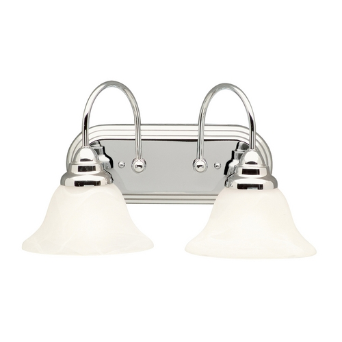 Kichler Lighting Kichler Bathroom Light with Alabaster Glass in Chrome Finish 5992CH