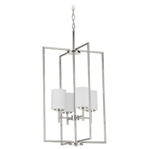Progress Lighting Progress Lighting Replay Polished Nickel Pendant Light with Cylindrical Shade P500206-104