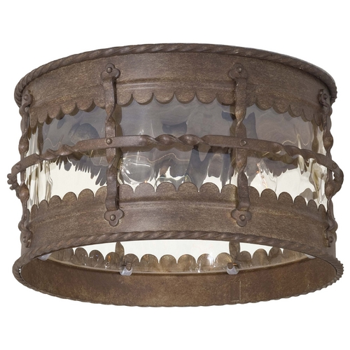Minka Lavery Close To Ceiling Light with Beige / Cream Glass in Vintage Rust Finish 8889-A61