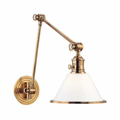 Hudson Valley Lighting Swing Arm Lamp with White Glass in Old Bronze Finish 8333-OB