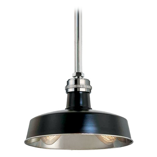 Hudson Valley Lighting Modern Drum Pendant Light in Black Polished Nickel Finish 8614-BPN