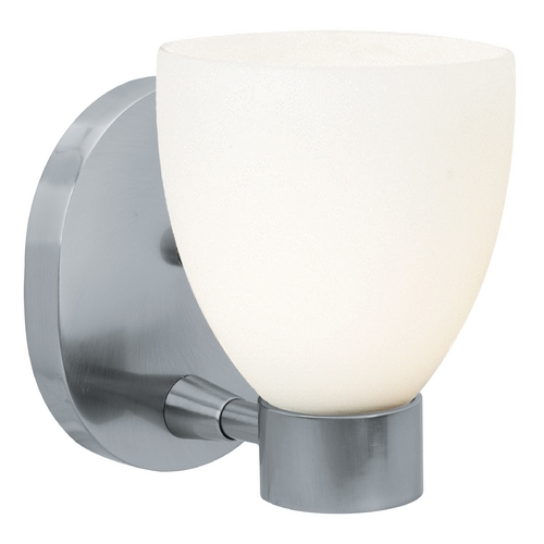 Access Lighting Modern Sconce Wall Light with White Glass in Brushed Steel Finish 23901-BS/OPL