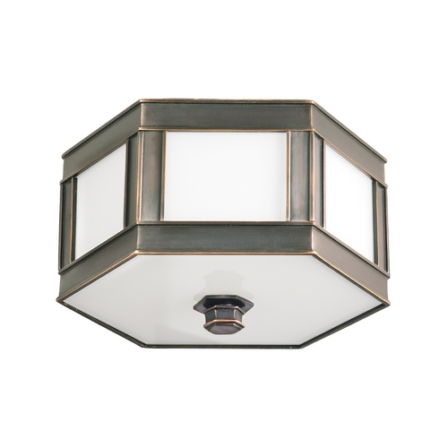 Hudson Valley Lighting Flushmount Light with White Glass in Old Bronze Finish 6410-OB