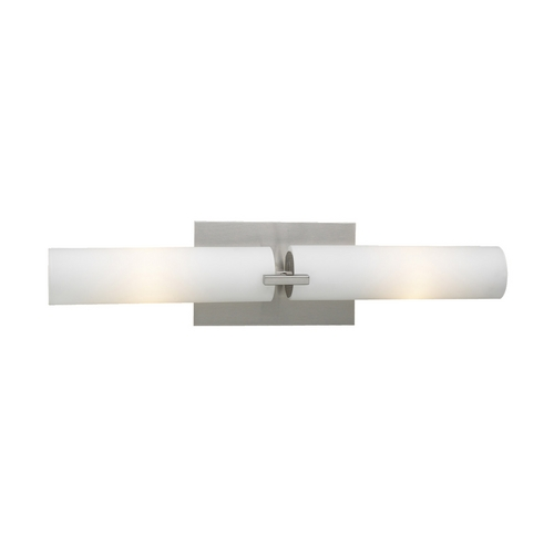 PLC Lighting Modern Bathroom Light with White Glass in Satin Nickel Finish 918/CFL SN