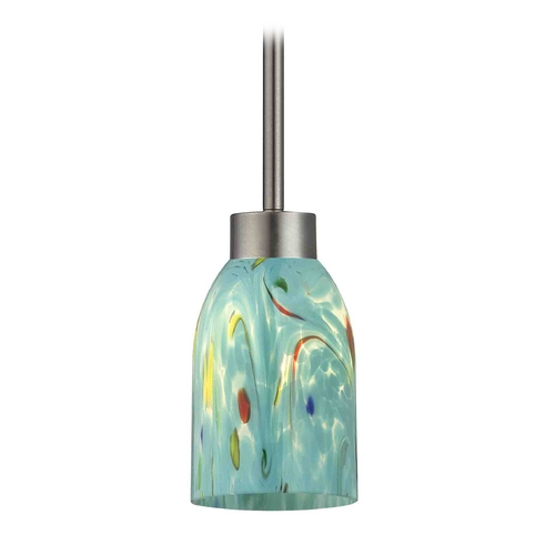 Design Classics Lighting Modern Mini-Pendant Light with Blue Glass 1123-1-09 GL1021D