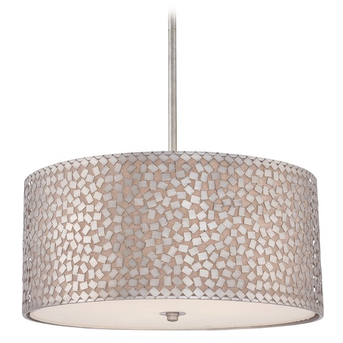 Quoizel Lighting Modern Drum Pendant Light in Old Silver Finish CKCF2822OS