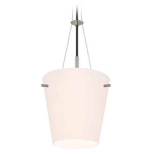 Sonneman Lighting Modern Pendant Light with White Glass in Satin Nickel Finish 3298.13