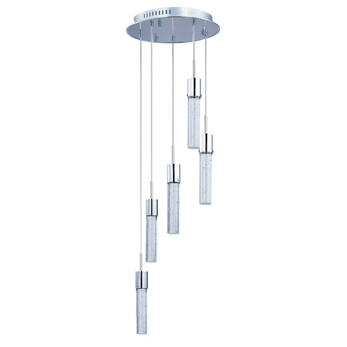 ET2 Lighting Fizz Iv Polished Chrome LED Multi-Light Pendant with Cylindrical Shade E22775-91PC