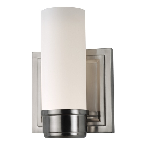 Feiss Lighting Sconce Wall Light with White Glass in Brushed Steel Finish VS38001-BS