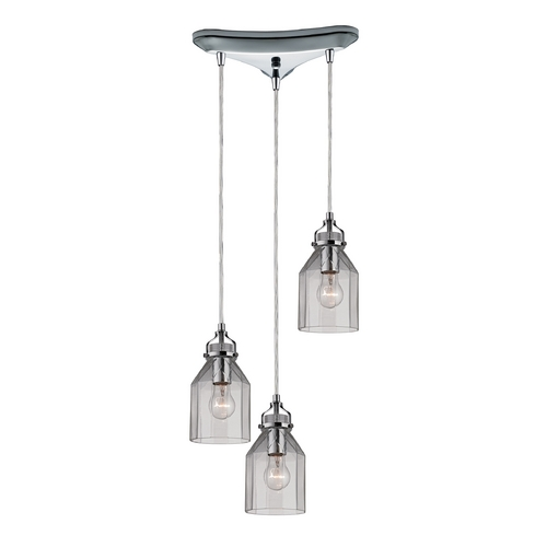 Elk Lighting Multi-Light Pendant Light with Clear Glass and 3-Lights 46019/3