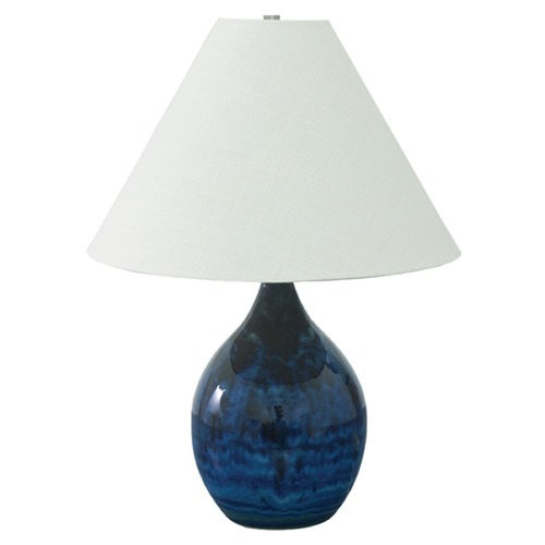 House of Troy Lighting House Of Troy Scatchard Midnight Blue Table Lamp with Conical Shade GS300-MID