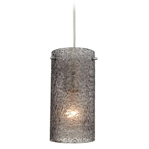 Elk Lighting Elk Lighting Ice Fragments Satin Nickel Mini-Pendant Light with Cylindrical Shade 10242/1SM