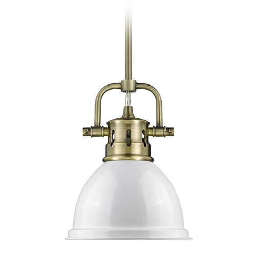 Golden Lighting Golden Lighting Duncan Ab Aged Brass Mini-Pendant Light with Bowl / Dome Shade 3604-M1L AB-WH