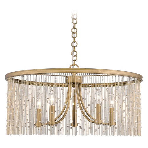 Golden Lighting Golden Lighting Marilyn Peruvian Gold Chandelier 1771-5PG-CRY