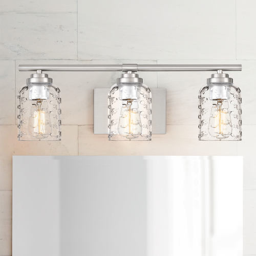 Quoizel Lighting Quoizel Cristal Brushed Nickel 3-Light Bathroom Light with Clear Bubble Cut Glass Shades CRI8603BN