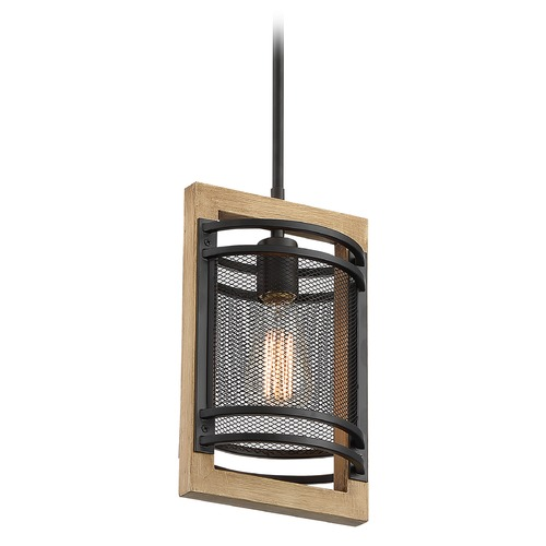 Satco Lighting Satco Lighting Atelier Black / Honey Wood Pendant Light with Cylindrical Shade 60/7262