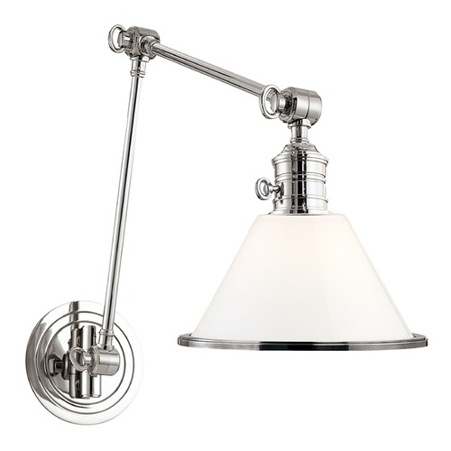 Hudson Valley Lighting Swing Arm Lamp with White Glass in Polished Nickel Finish 8333-PN