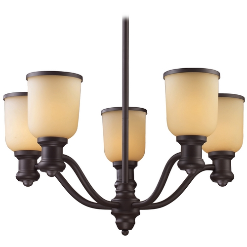 Elk Lighting Chandelier with Amber Glass in Oiled Bronze Finish 66173-5