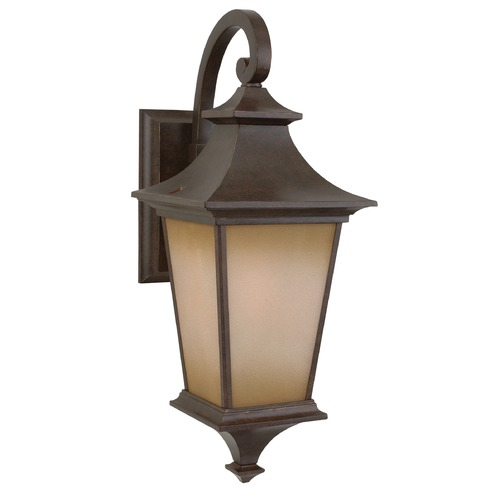 Craftmade Lighting Outdoor Wall Light with Brown Glass in Aged Bronze Finish Z1314-98