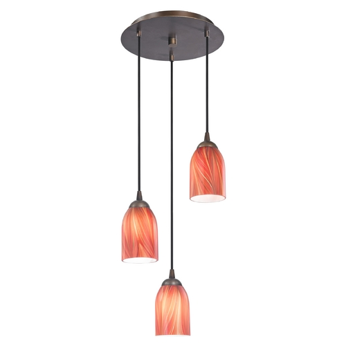 Design Classics Lighting Modern Multi-Light Pendant Light with Red Glass and 3-Lights 583-220 GL1017D