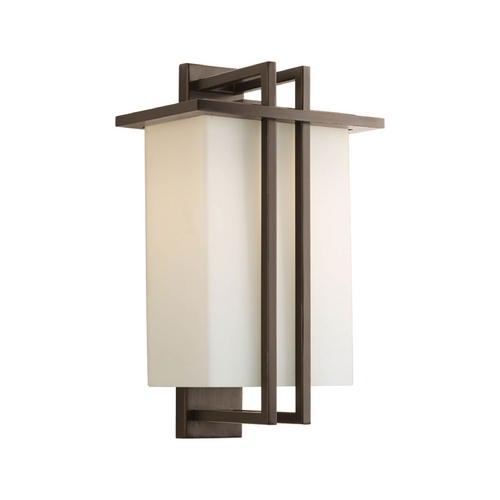 Progress Lighting Progress Modern Outdoor Wall Light with White Glass in Bronze Finish P5991-20