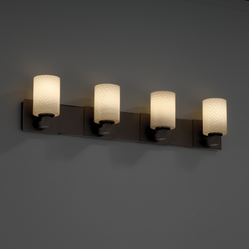 Justice Design Group Justice Design Group Fusion Collection Bathroom Light FSN-8924-10-WEVE-DBRZ