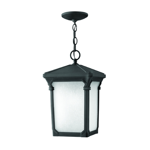 Hinkley Lighting Outdoor Hanging Light with White Glass in Museum Black Finish 1352MB