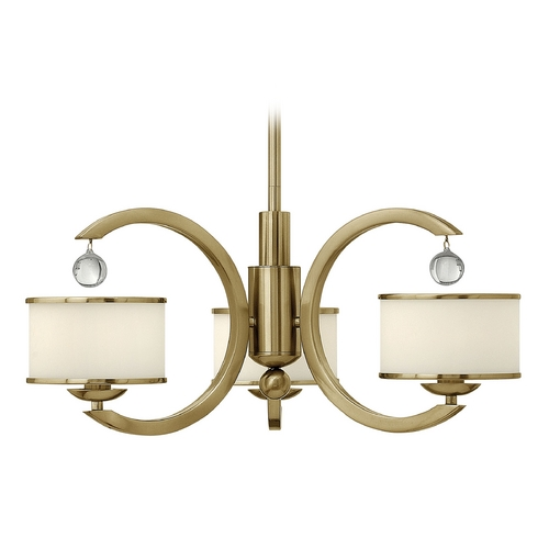 Hinkley Lighting Chandelier with White Glass in Brushed Caramel Finish 4853BC