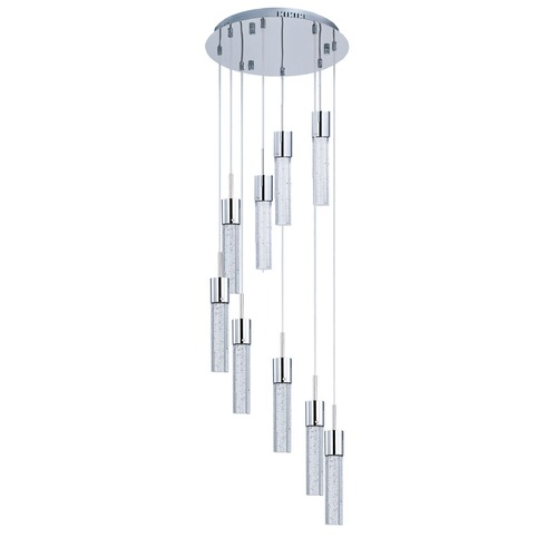 ET2 Lighting Fizz Iv Polished Chrome LED Multi-Light Pendant with Cylindrical Shade E22779-91PC