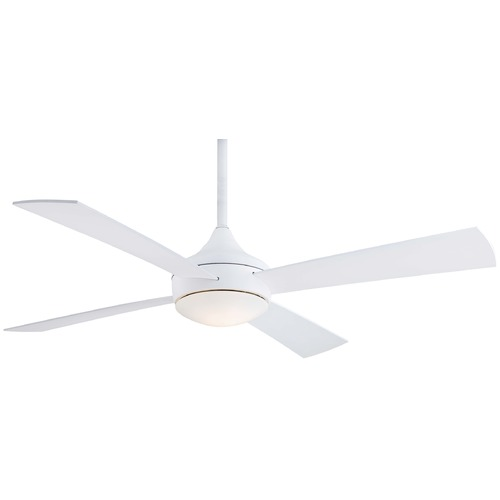 Minka Aire Minka Aire Fans Aluma Wet Flat White Ceiling Fan with Light F523-WHF