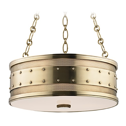 Hudson Valley Lighting Hudson Valley Lighting Gaines Aged Brass Pendant Light with Drum Shade 2216-AGB