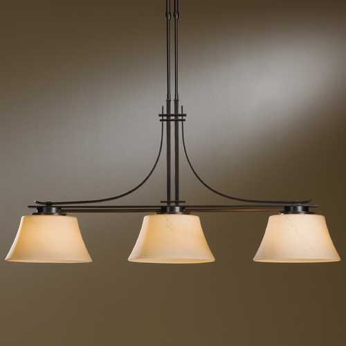 Hubbardton Forge Lighting Hubbardton Forge Lighting Modern Prairie Mahogany Island Light with Coolie Shade 132125-03-H251