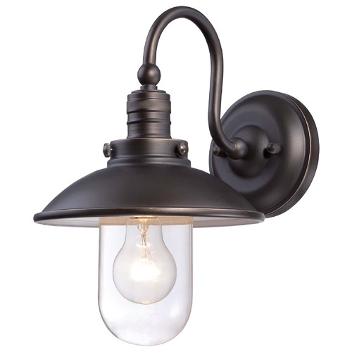 Minka Lavery Minka Downtown Edison Oil Rubbed Bronze with Gold High Outdoor Wall Light 71163-143C