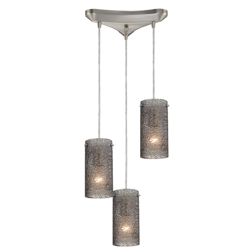 Elk Lighting Elk Lighting Ice Fragments Satin Nickel Multi-Light Pendant with Cylindrical Shade 10242/3SM