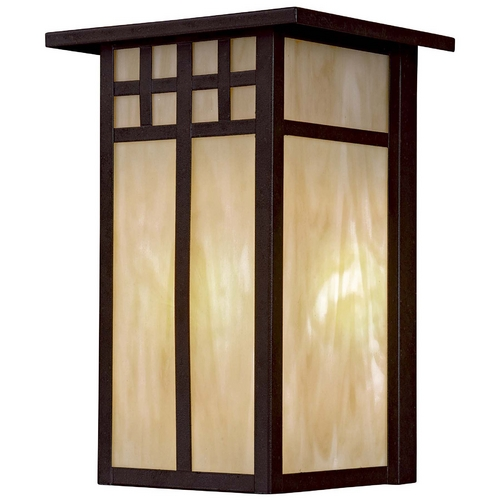 Minka Lavery Outdoor Wall Light with Art Glass in Textured French Bronze Finish 8602-A179-PL