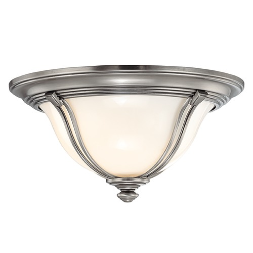 Hudson Valley Lighting Flushmount Light with White Glass in Antique Nickel Finish 5411-AN