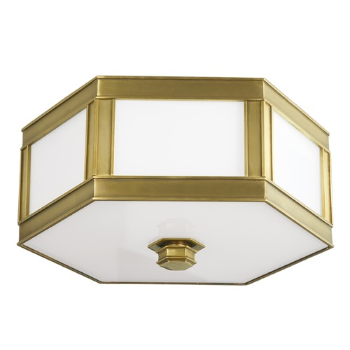 Hudson Valley Lighting Flushmount Light with White Glass in Aged Brass Finish 6413-AGB